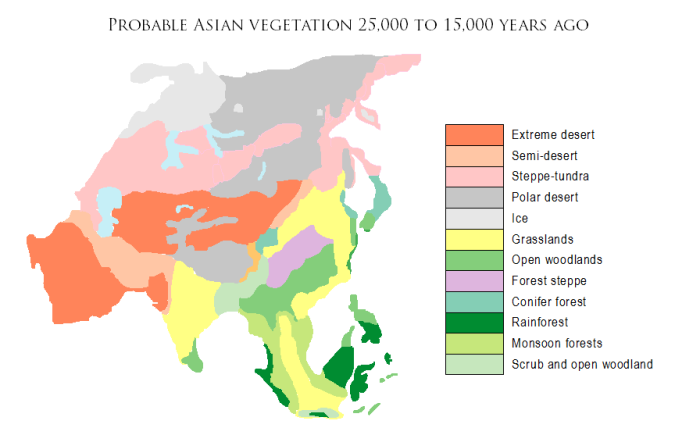 Asian vegetation 25,000-15,000 years ago