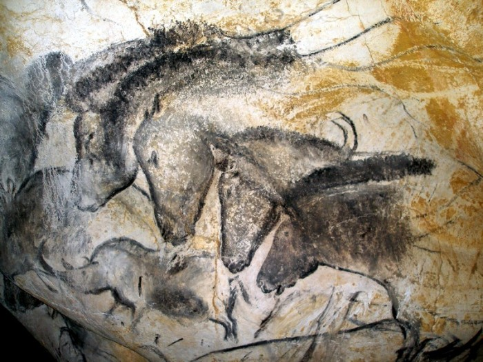 Horse paintings at the Grotte Chauvet, France