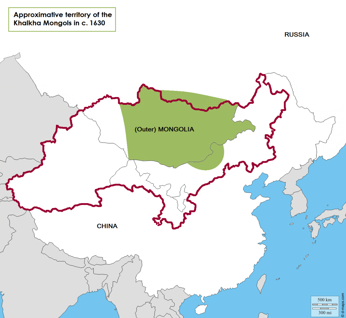 Approximative territory inhabited by Khalkha mongols in c. 1630