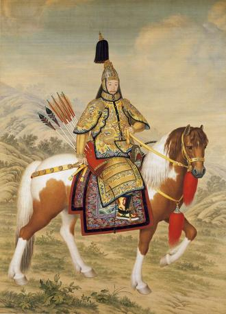 The Qianlong Emperor riding in armor
