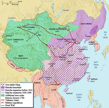 Map of the Qing Empire in circa 1750