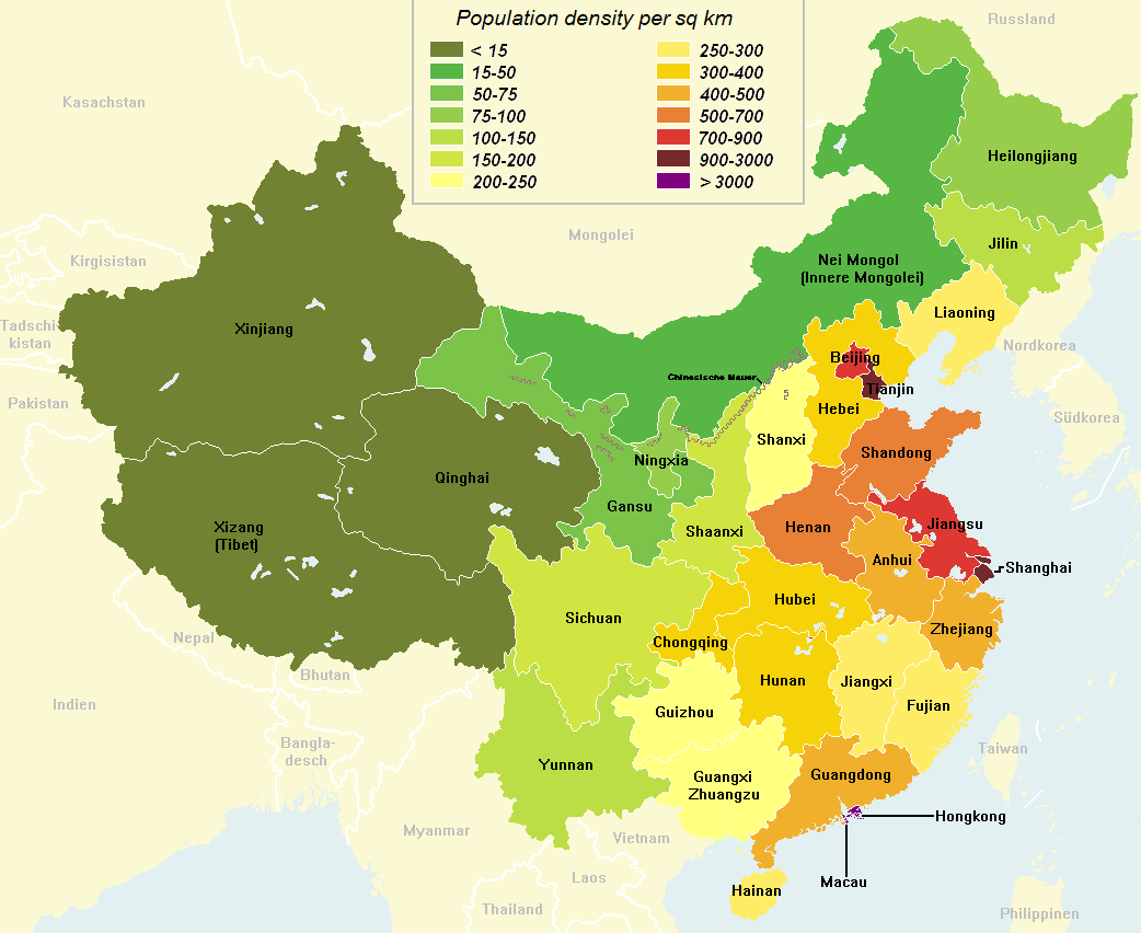Current Chinese population density per sq km