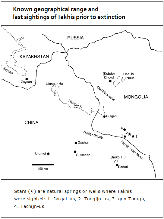 Przewalski horse - Map of the last sightings shortly before 1969