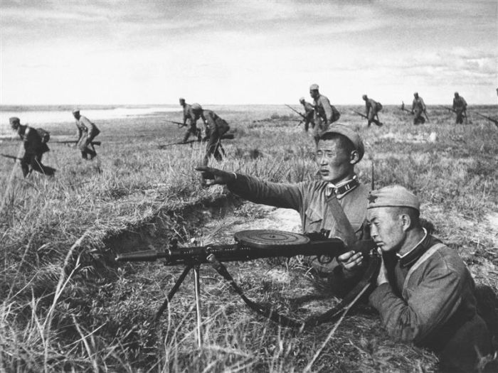 Mongolian soldiers fighting on the steppe