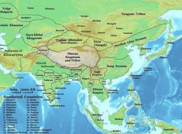 The people of Asia in c. 1200, before the time of Genghis Khan