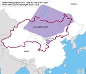 Cradle of Genghis Khan's Mongol empire and Ordos region in c. 1200