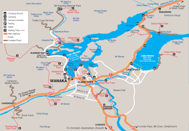 Map of Wanaka, New Zealand